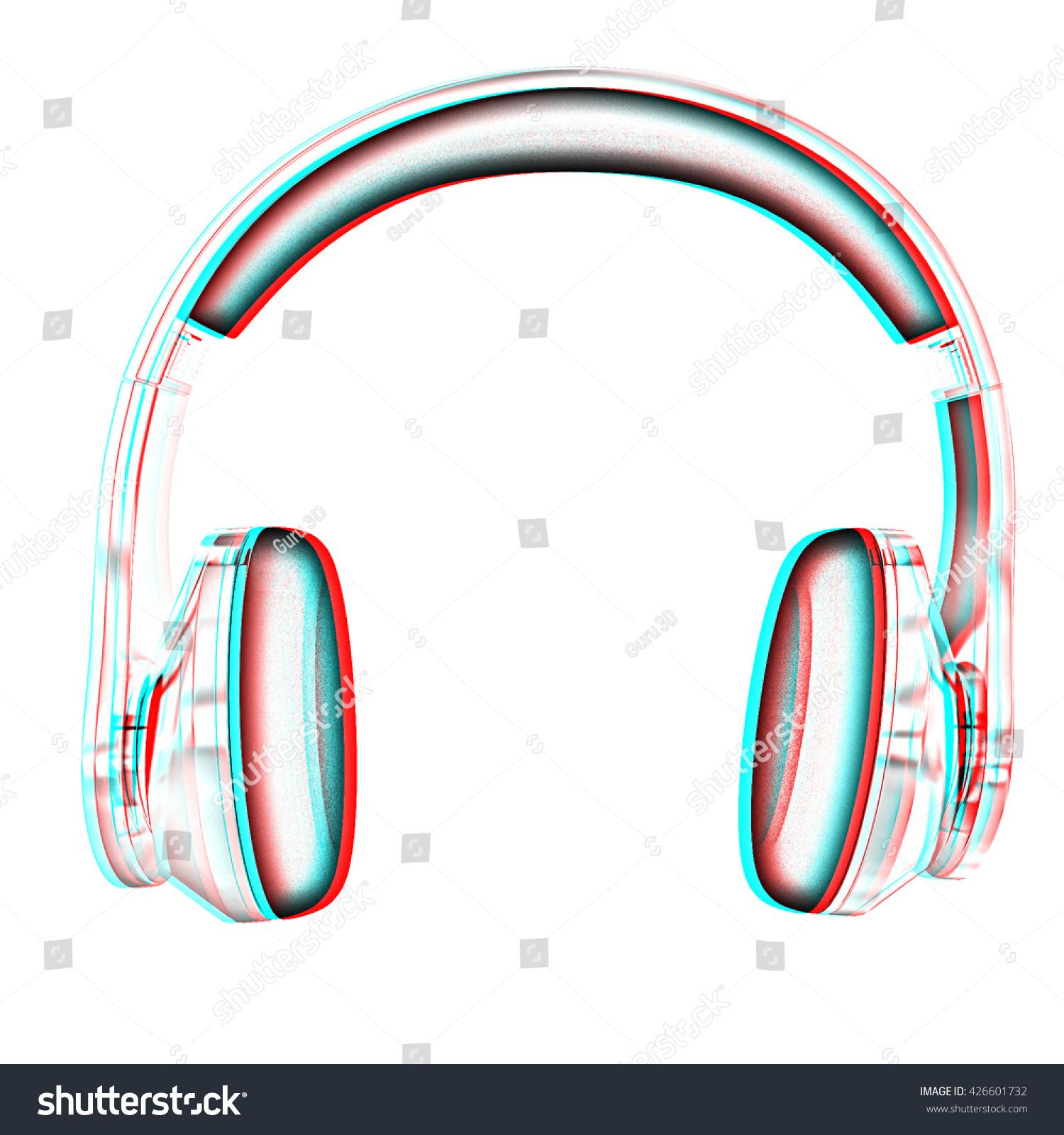 Chrome Headphones On White Background Pencil Stock