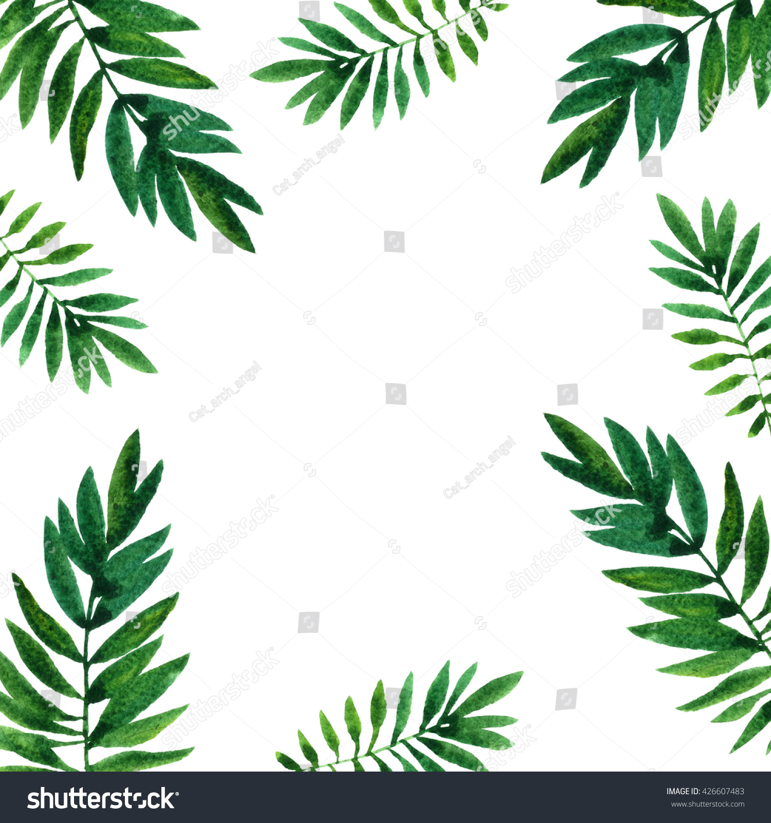 background watercolor green leaves palm tree stock illustration