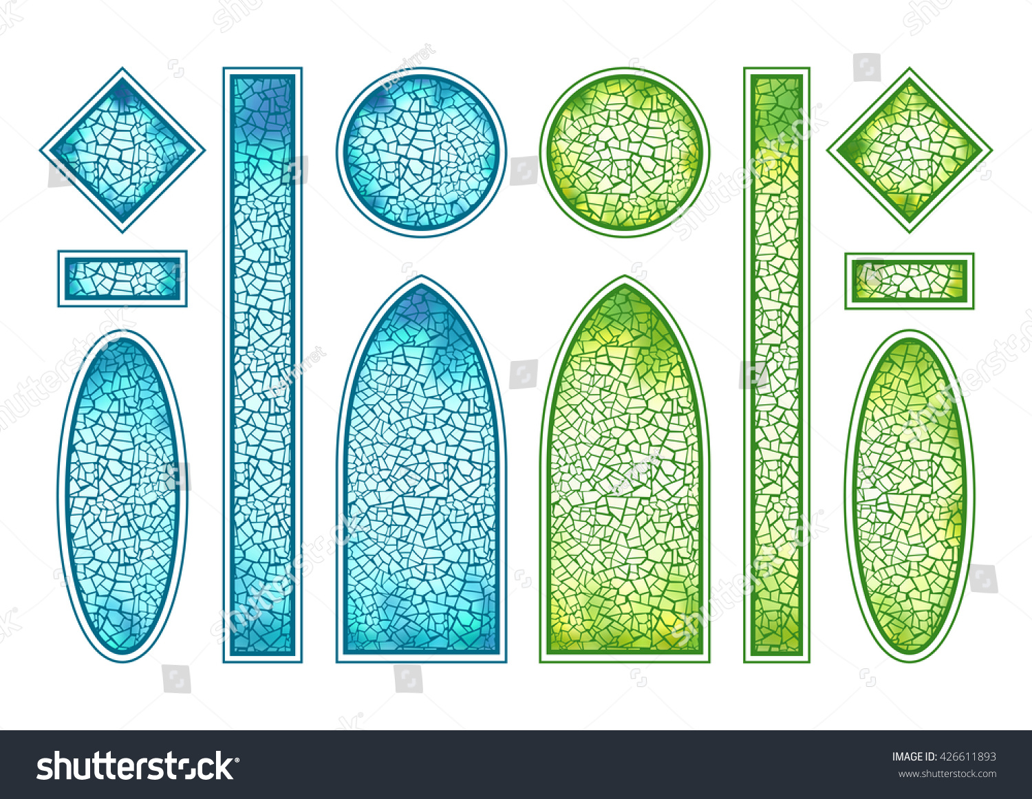 Blue green stainedglass windows set different stock vector for Window shapes and sizes
