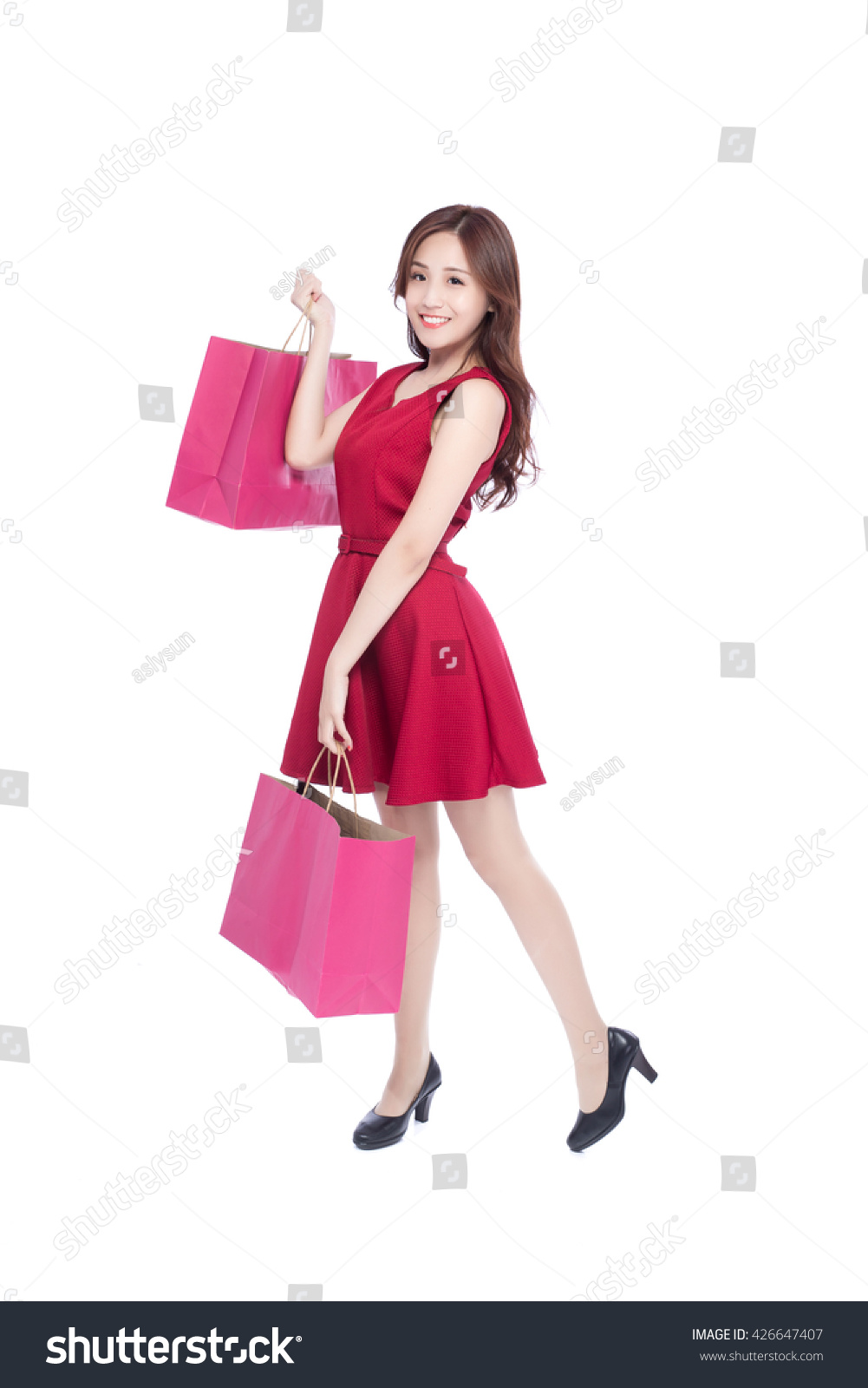 Woman posing with shopping bags isolated on white background full - Happy Shopping Young Woman Show Bags Isolated On White Background Full Body Asian