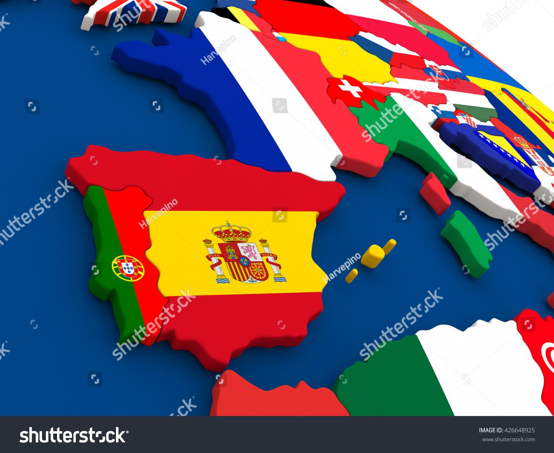 Map Spain Portugal On Globe Embedded Stock Illustration - Portugal globe map