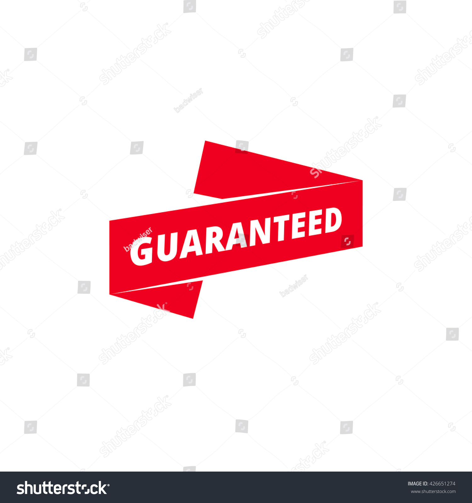 guaranteed ribbon banner isolated template web stock illustration, Powerpoint templates