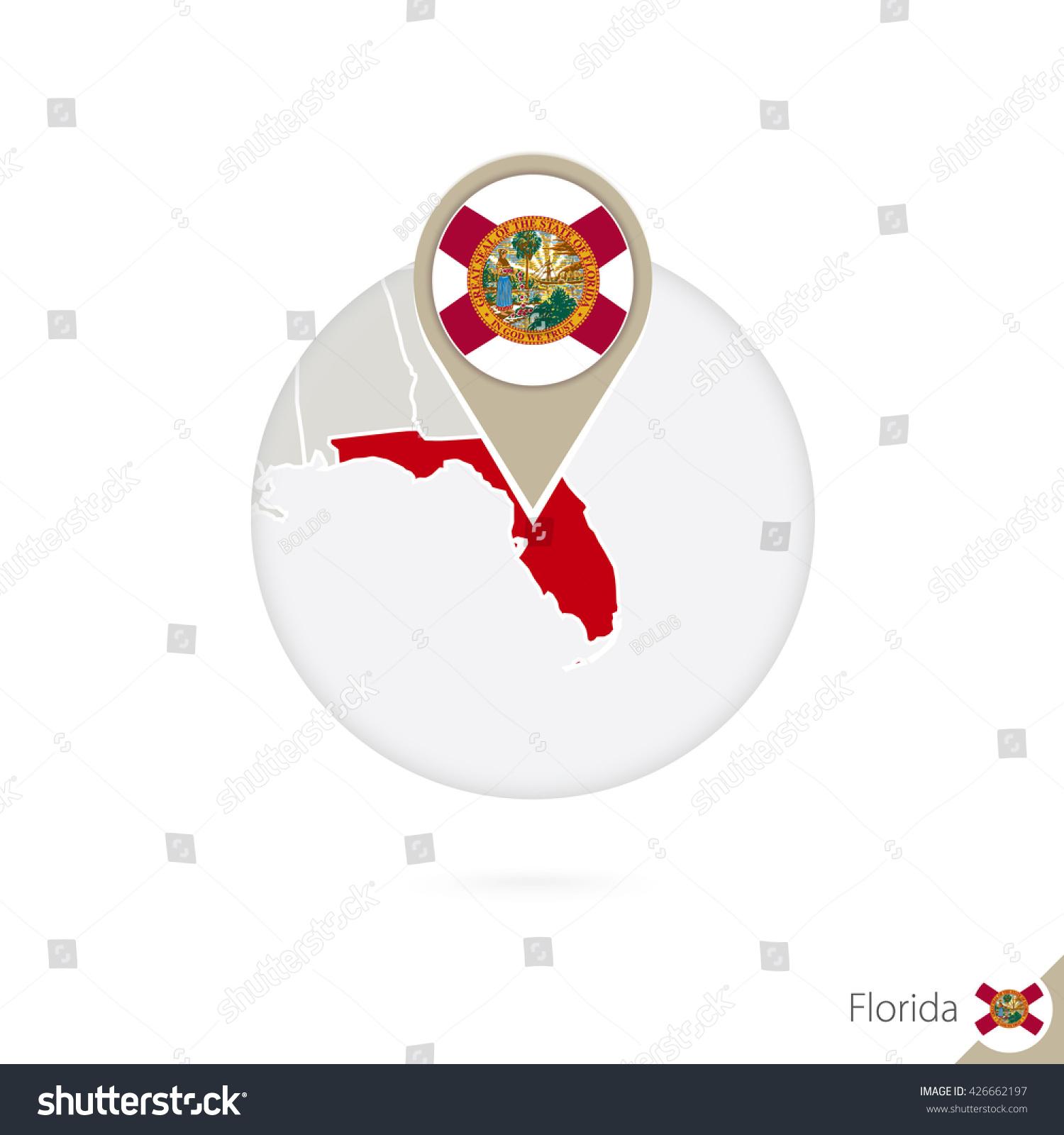 Florida Us State Map Flag Circle Stock Illustration - Map of florida in us