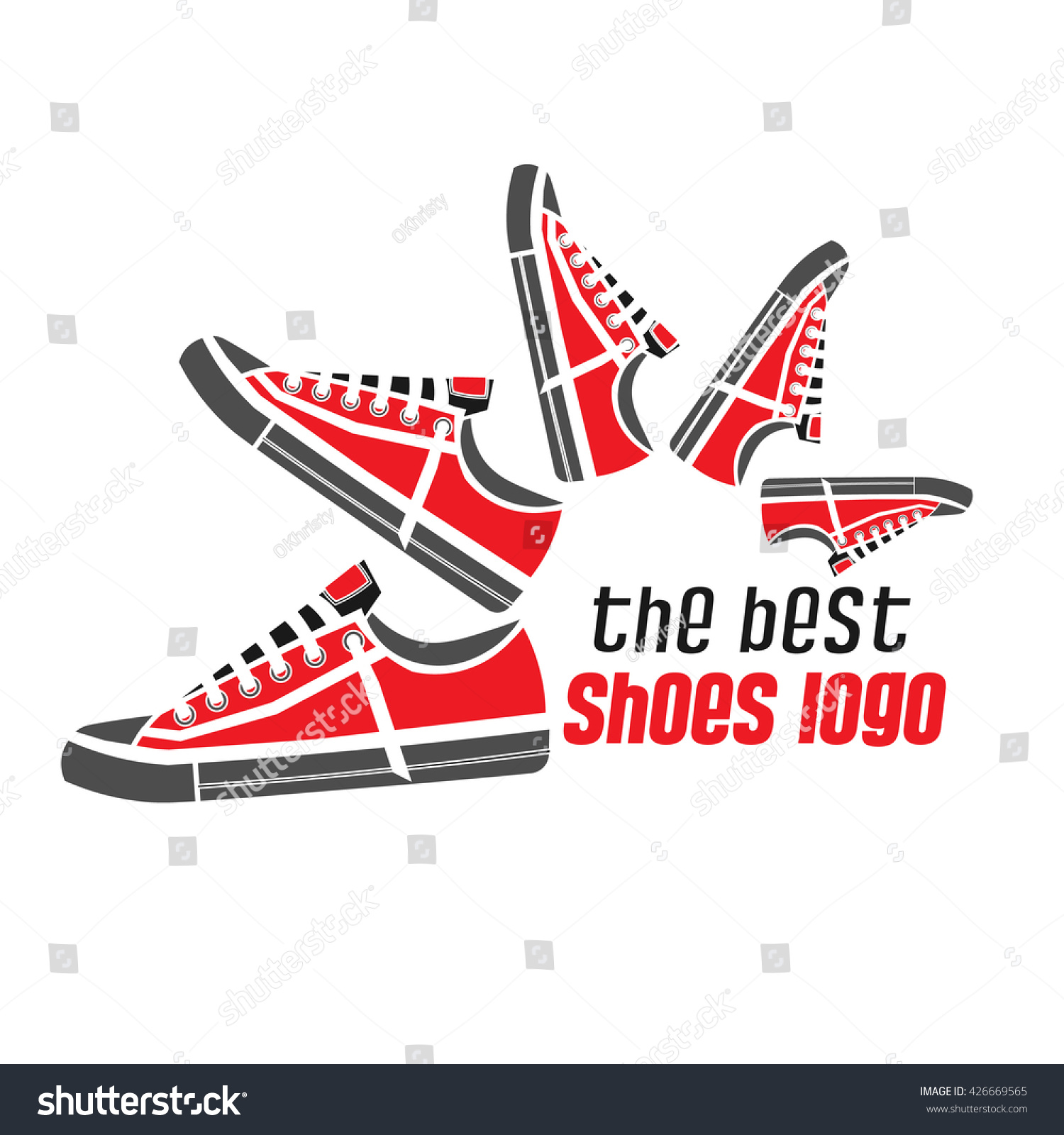 dynamic sports shoes logo sneakers gray stock vector