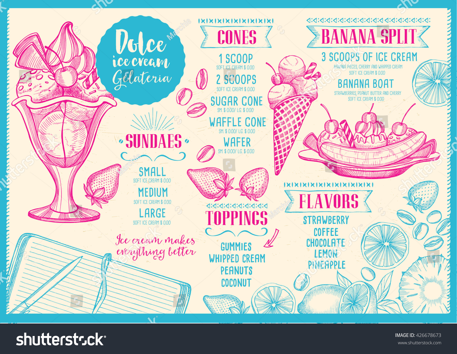 Ice Cream Menu Placemat Food Restaurant Stock Vector