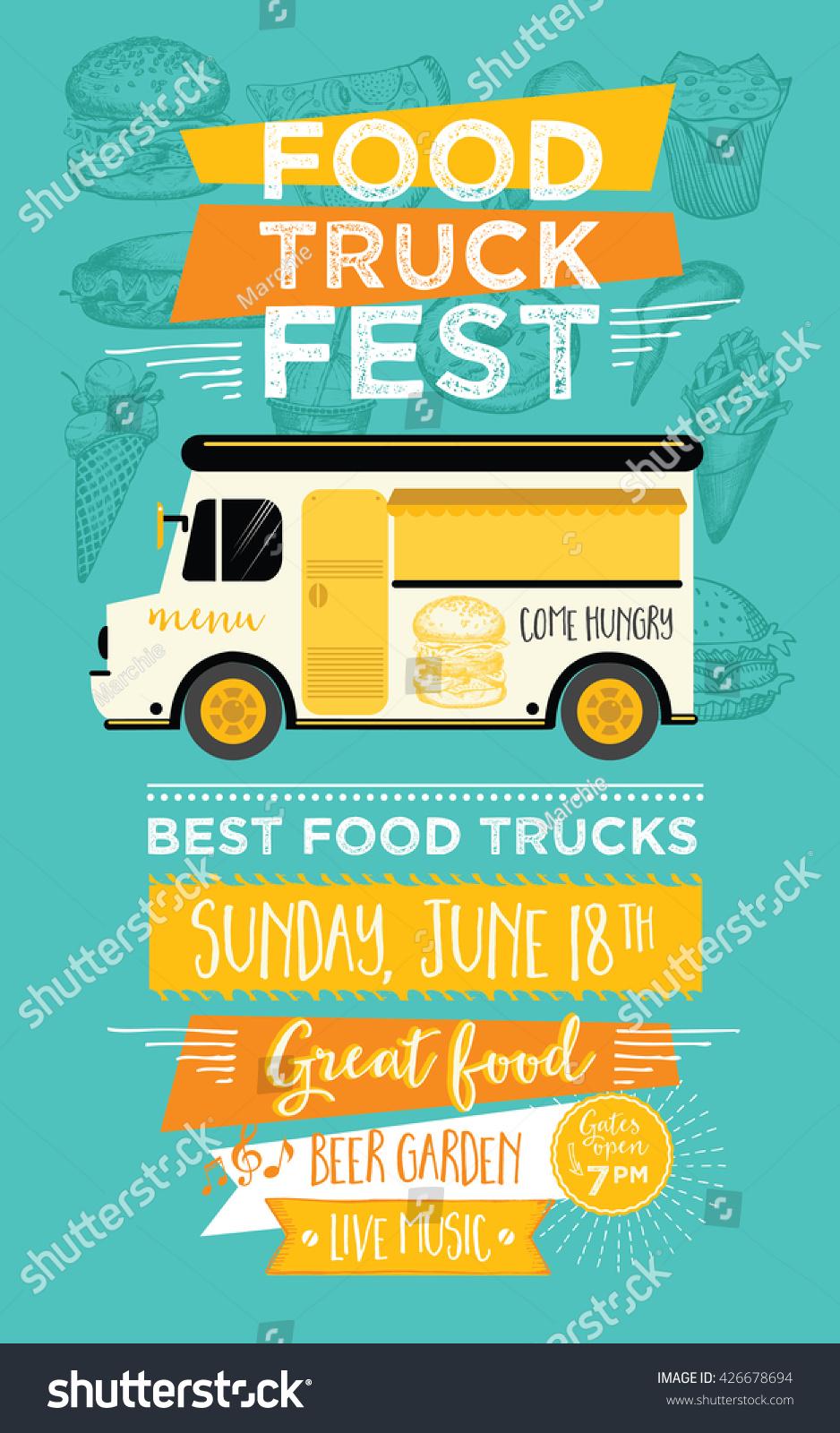 Food truck festival menu food brochure street food for Food truck menu design