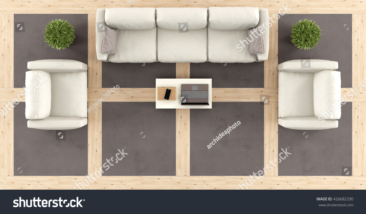 Top View Modern Living Room Sofa Stock Illustration