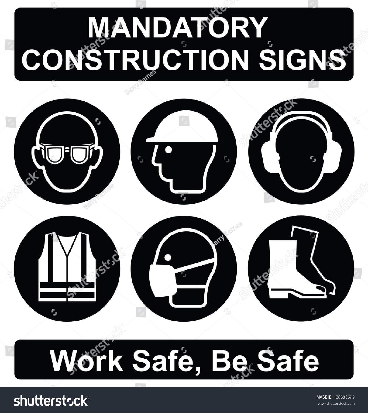 Black mandatory construction manufacturing engineering health black mandatory construction manufacturing and engineering health and safety signs to current british standards isolated on biocorpaavc