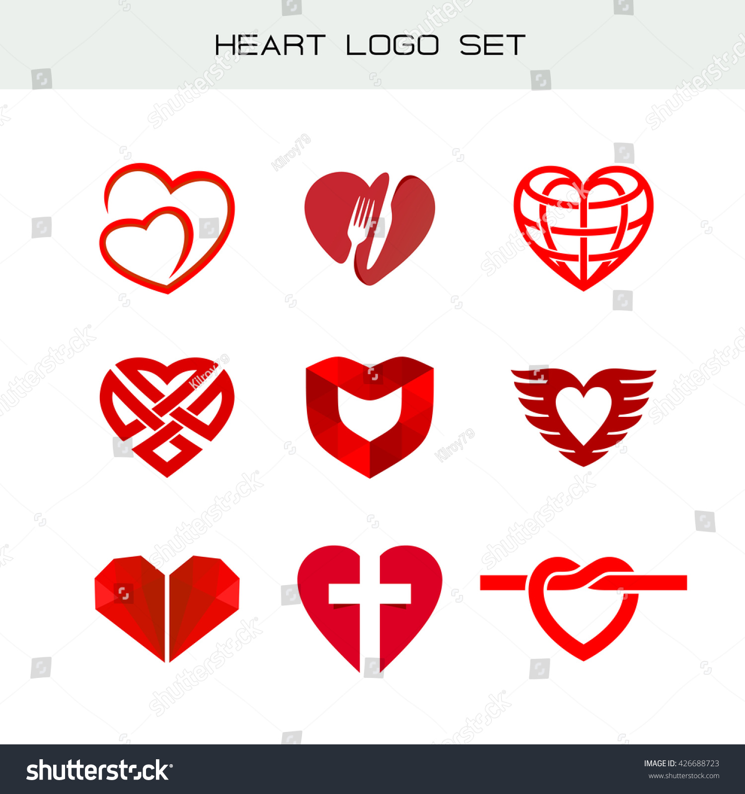 Heart logo set red heart symbols stock vector 426688723 shutterstock heart logo set red heart symbols heart icon for different appliance biocorpaavc Choice Image