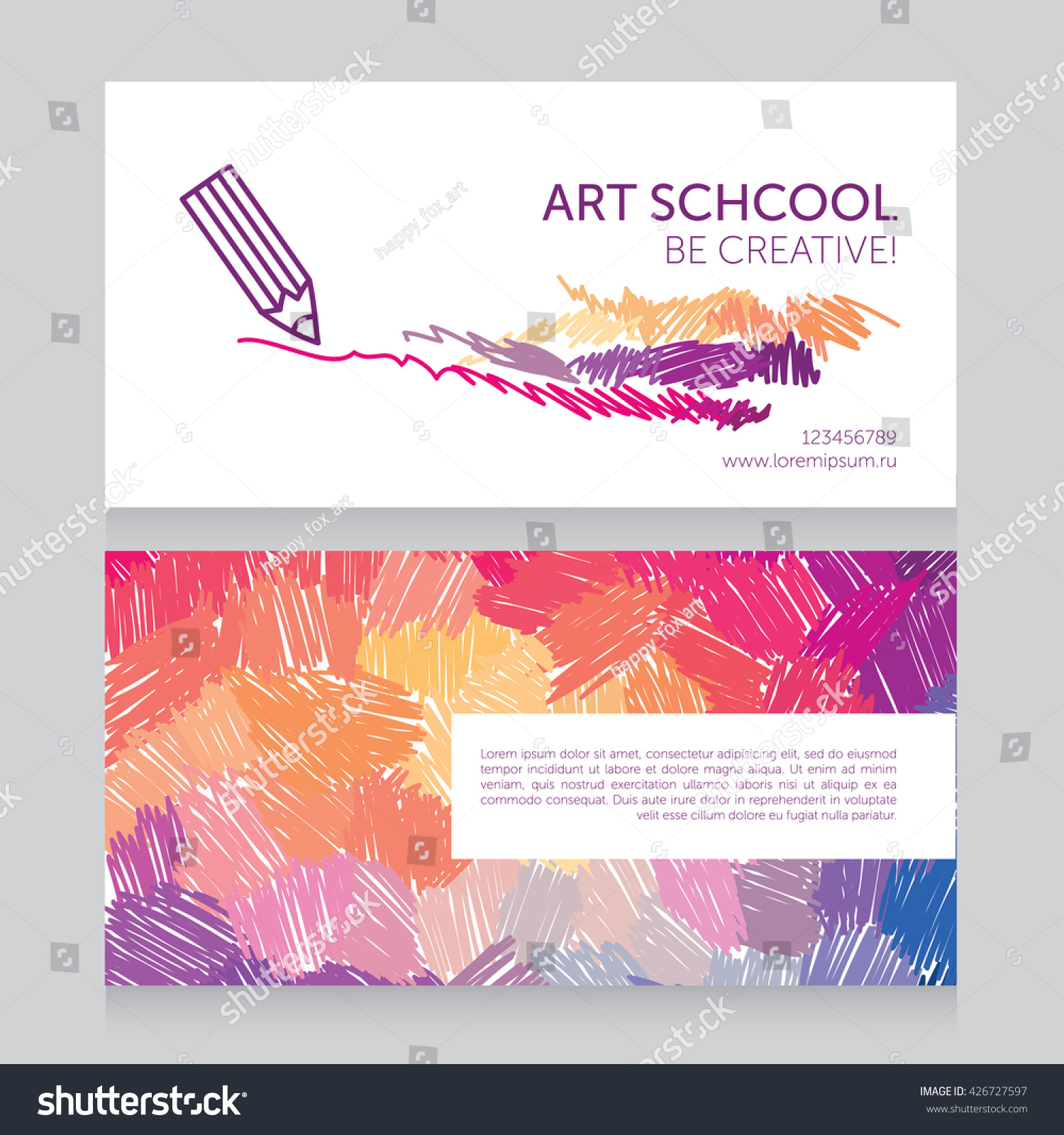Business Cards Template Art School Can Stock Vector 426727597 ...