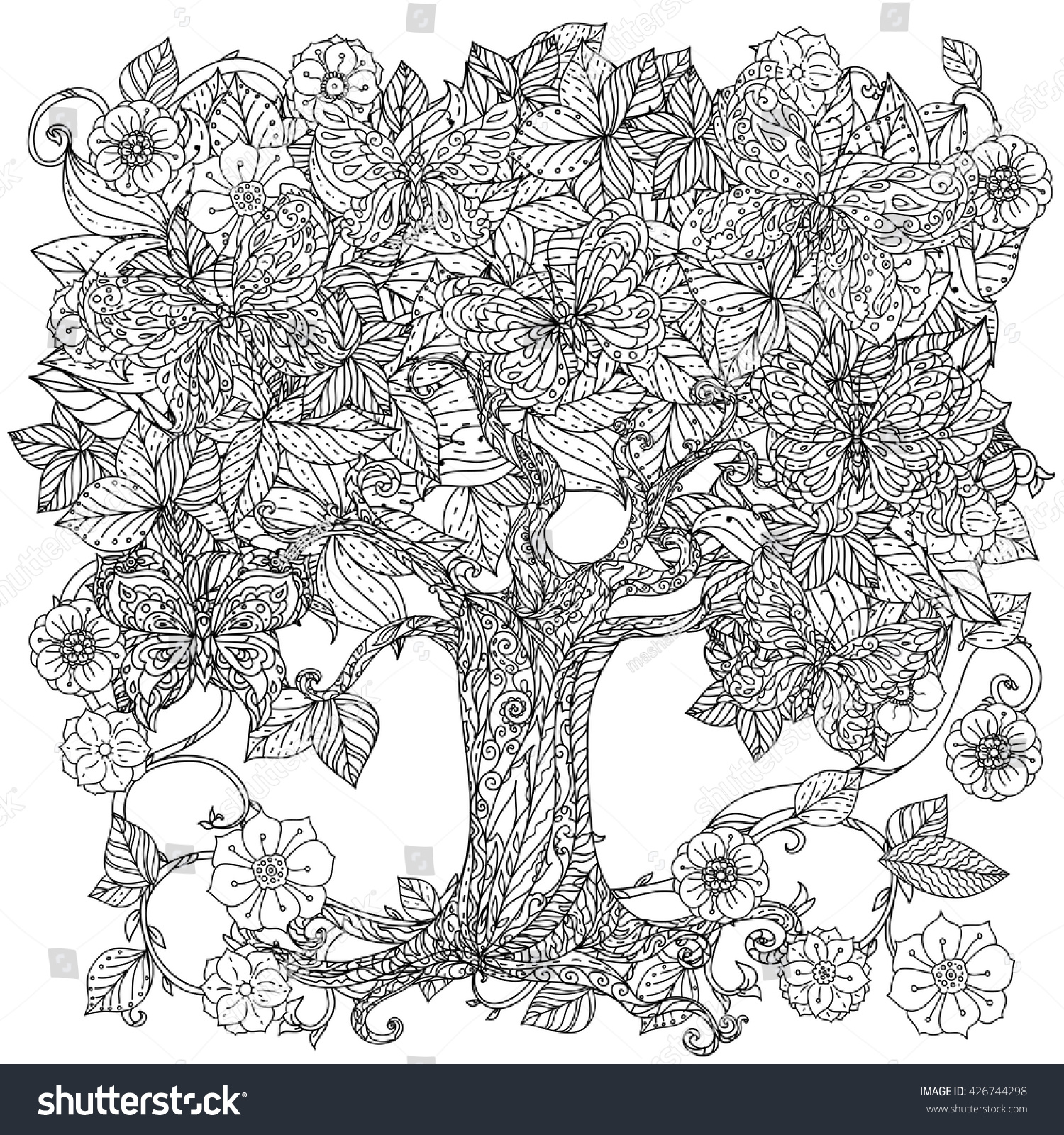 Uncoloured Tree And Butterfly For Adult Coloring Book In Famous Zen Art Therapy Antistress Style