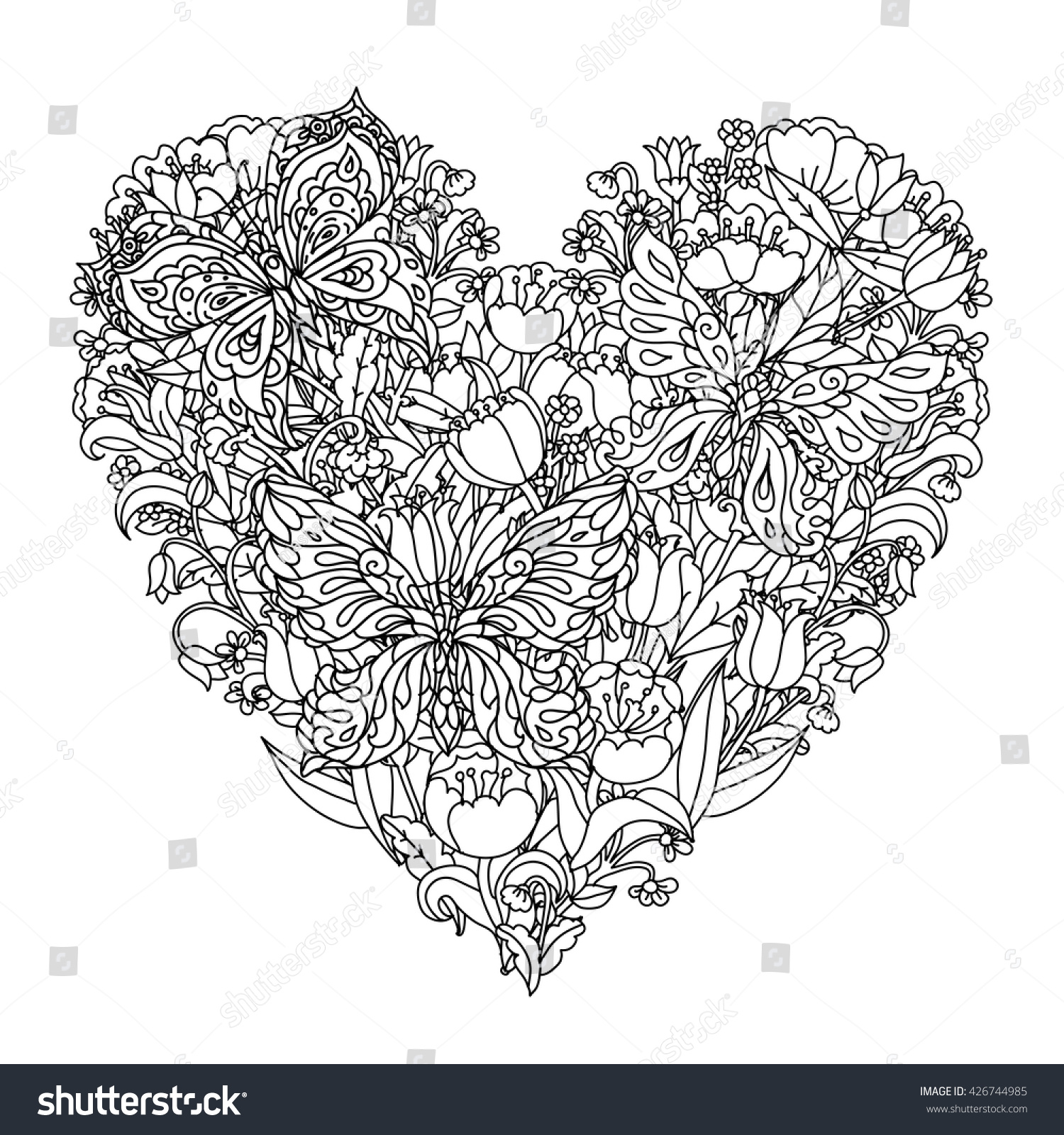Heart Shape Flowers And Butterfly For Adult Coloring Book In Famous Zen Art Therapy Antistress Style