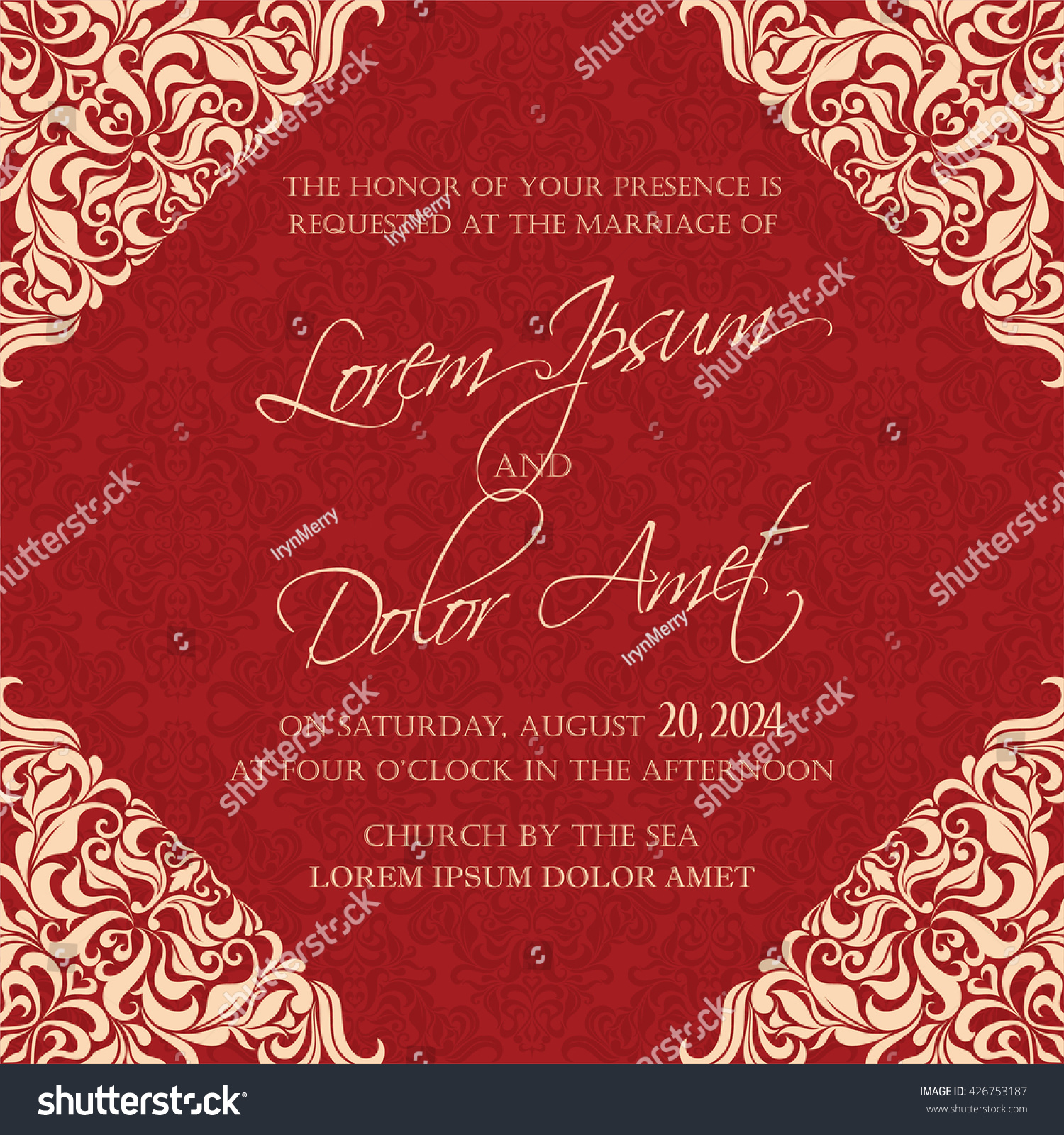 Red Vintage Wedding Invitation Card Stock Vector (Royalty Free ...