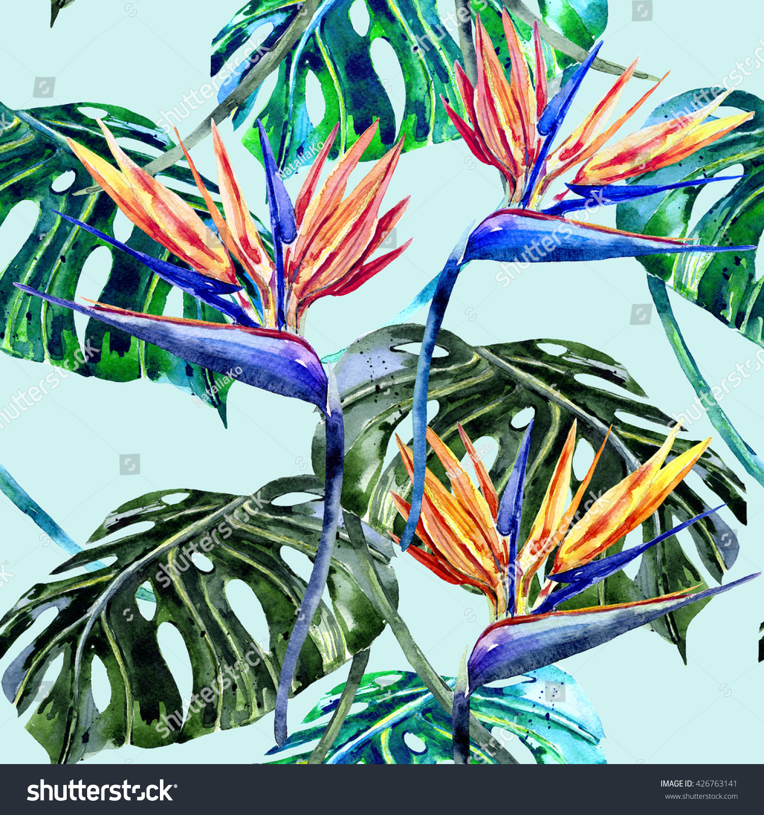 Watercolor tropical flowers jungle leaves bird stock illustration watercolor tropical flowers jungle leaves bird of paradise flower beautiful seamless floral pattern buycottarizona
