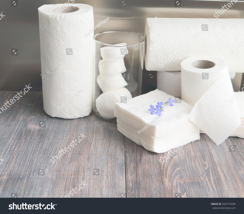 White Kitchen Towel Toilet Paper Cotton Stock Photo (100% Legal ...