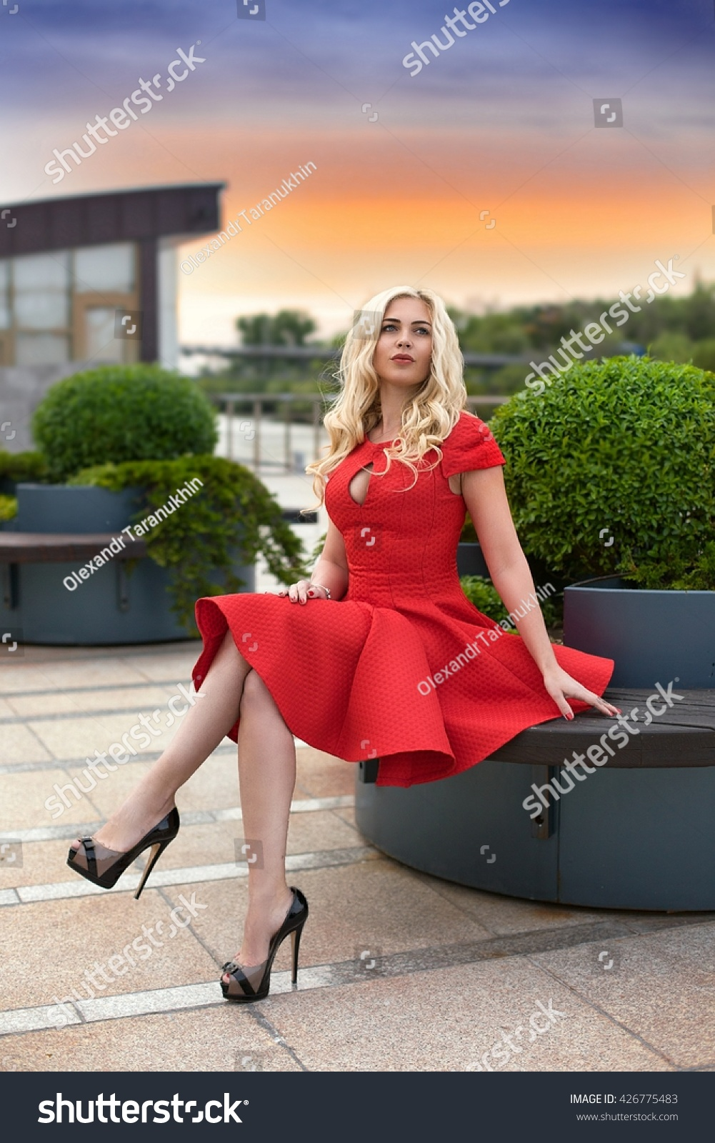 Beautiful Blonde Woman Red Dress High Stock Photo 426775483 ...