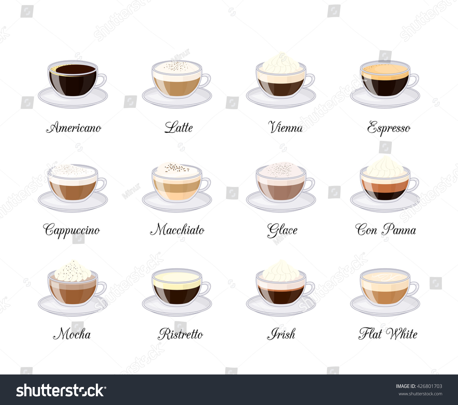 Different Coffee Drinks Isolated On White Stock Vector