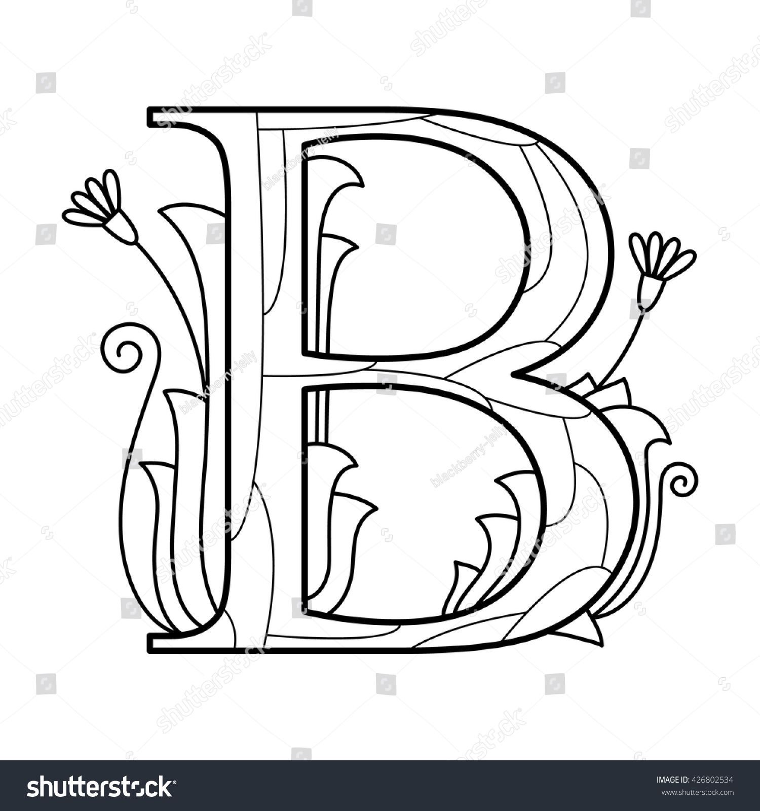 alphabet coloring page capital letter vector illustration