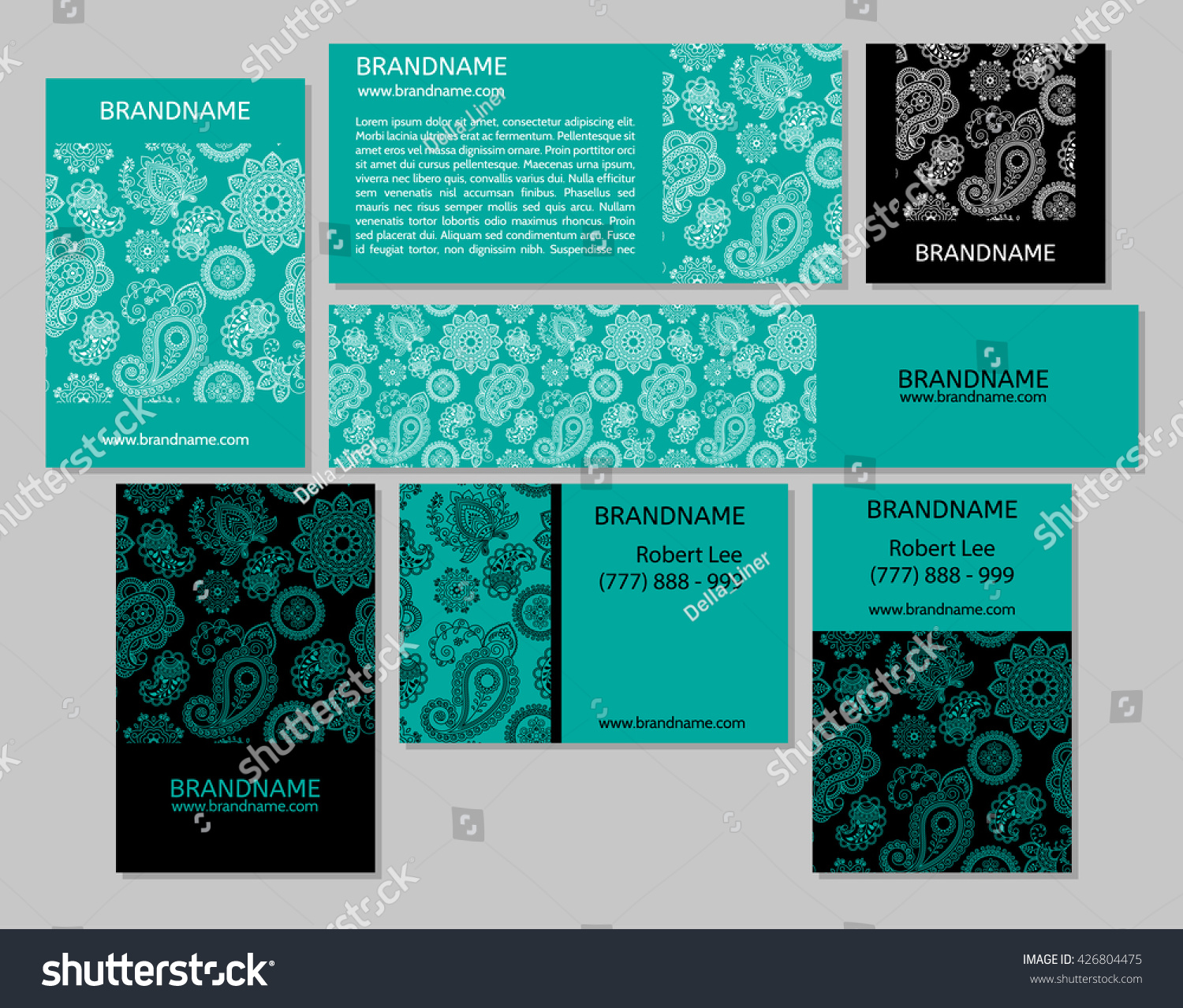 Vector Set Business Cards Banners Oriental Stock Vector 426804475 ...