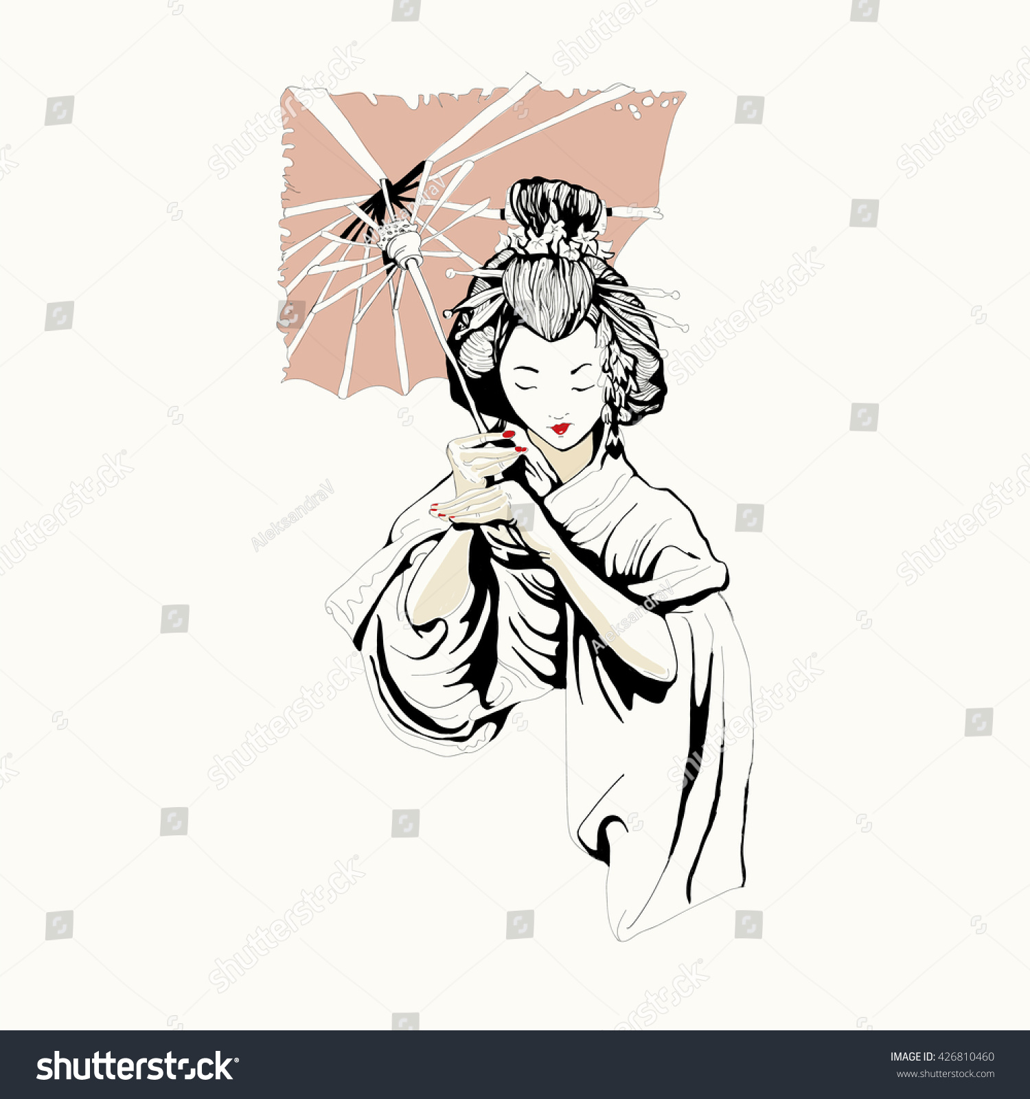 Japanese Geisha Girl Woman Drawing Vector Stock Vector