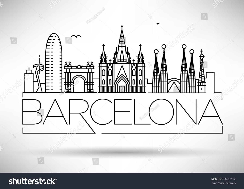 Minimal Barcelona City Linear Skyline Typographic Stock