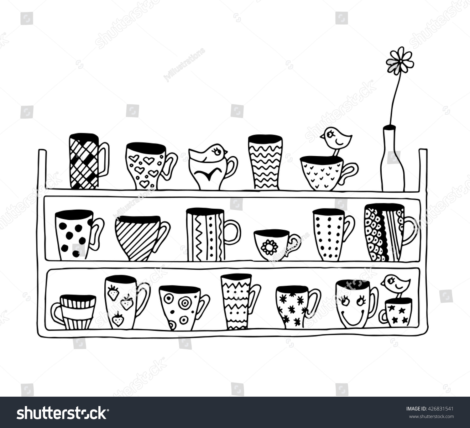 coloring page kids birds on kitchen stock vector 426831541