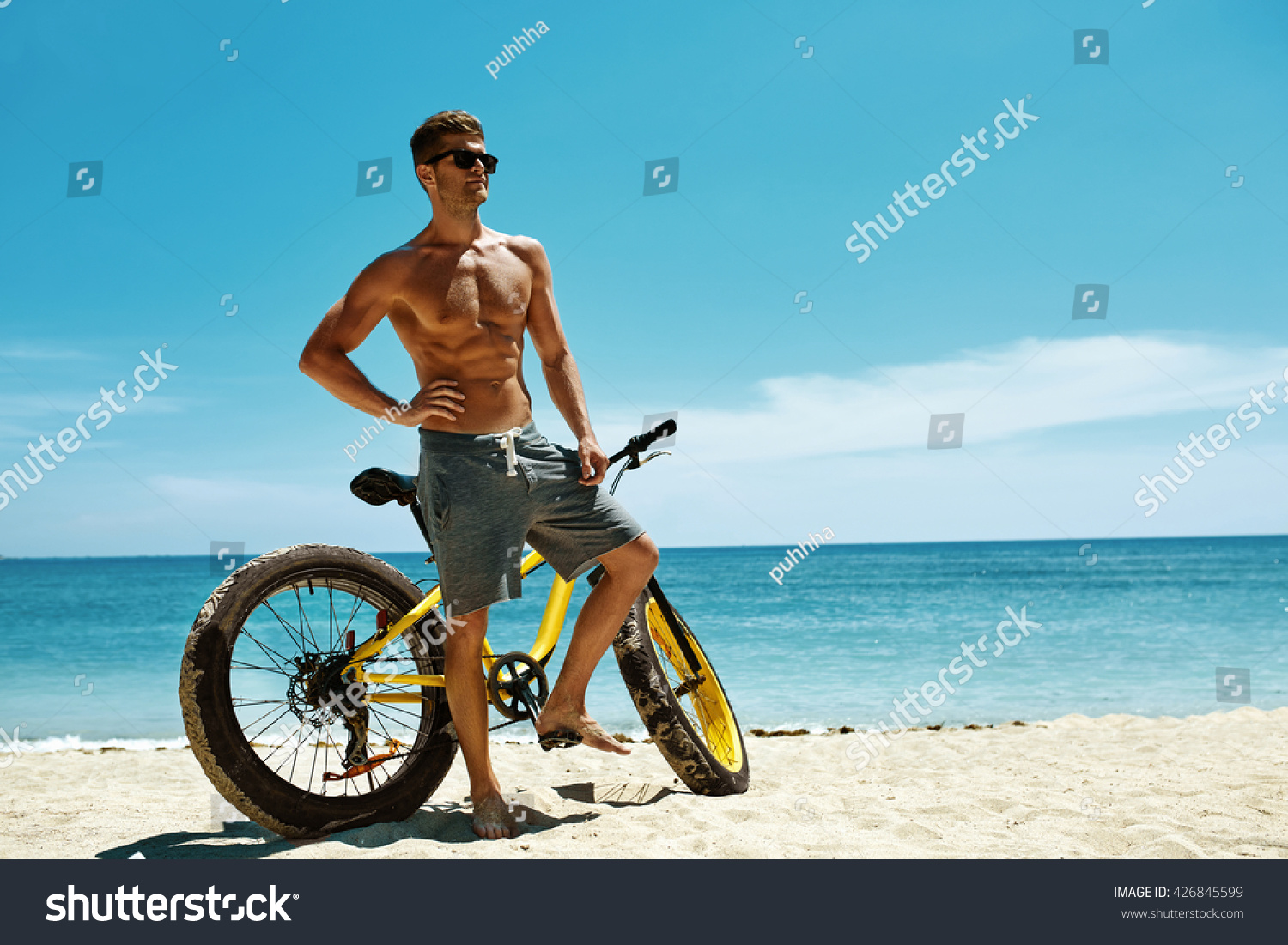 3eb3650ea1b5 Fitness Male Model With Bike Sunbathing… Stock Photo 426845599 ...