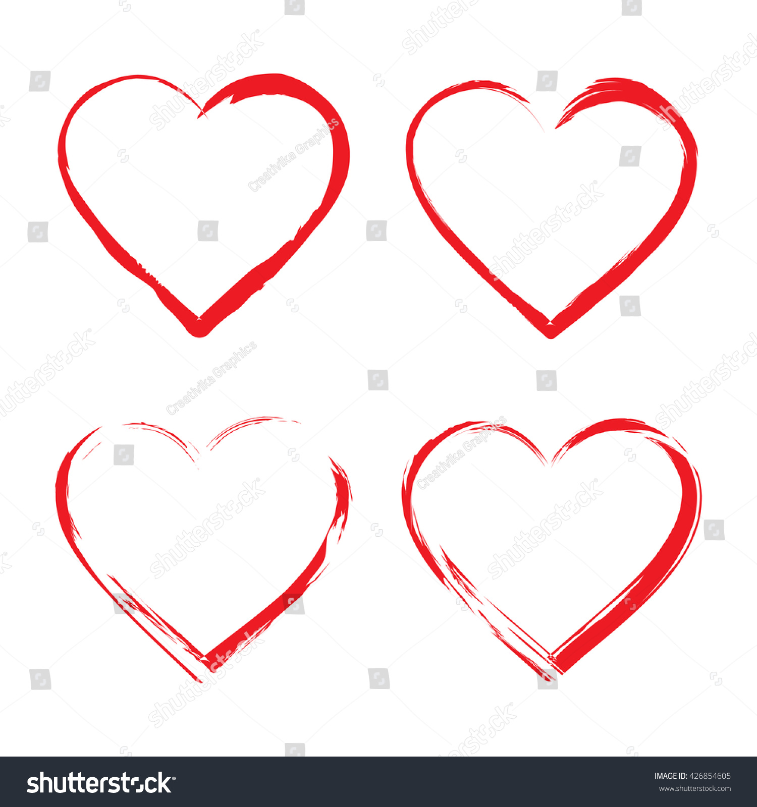 Set heart icons red hearts symbols stock vector 426854605 set of heart icons red hearts symbols drawn by brush isolated on white background biocorpaavc