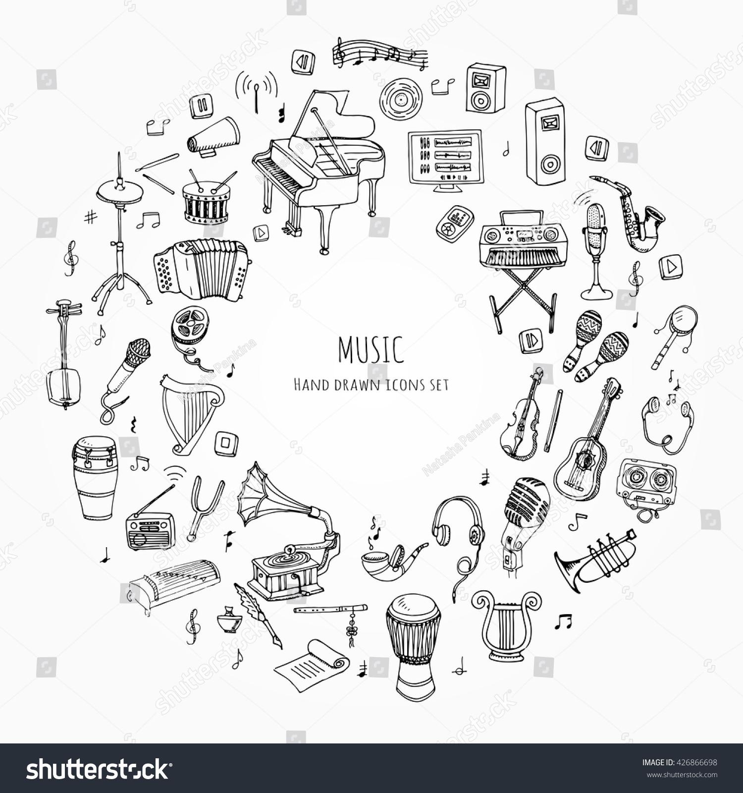 Hand Drawn Doodle Music Set Vector Stock Photo Photo Vector