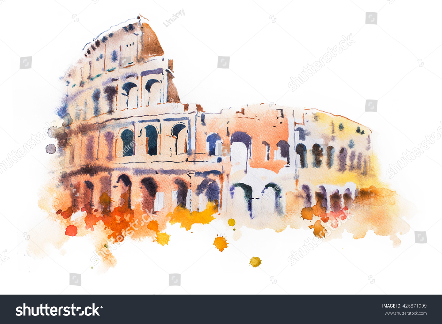 watercolor drawing of Coliseum in Rome Hand drawn Italian sightseeing