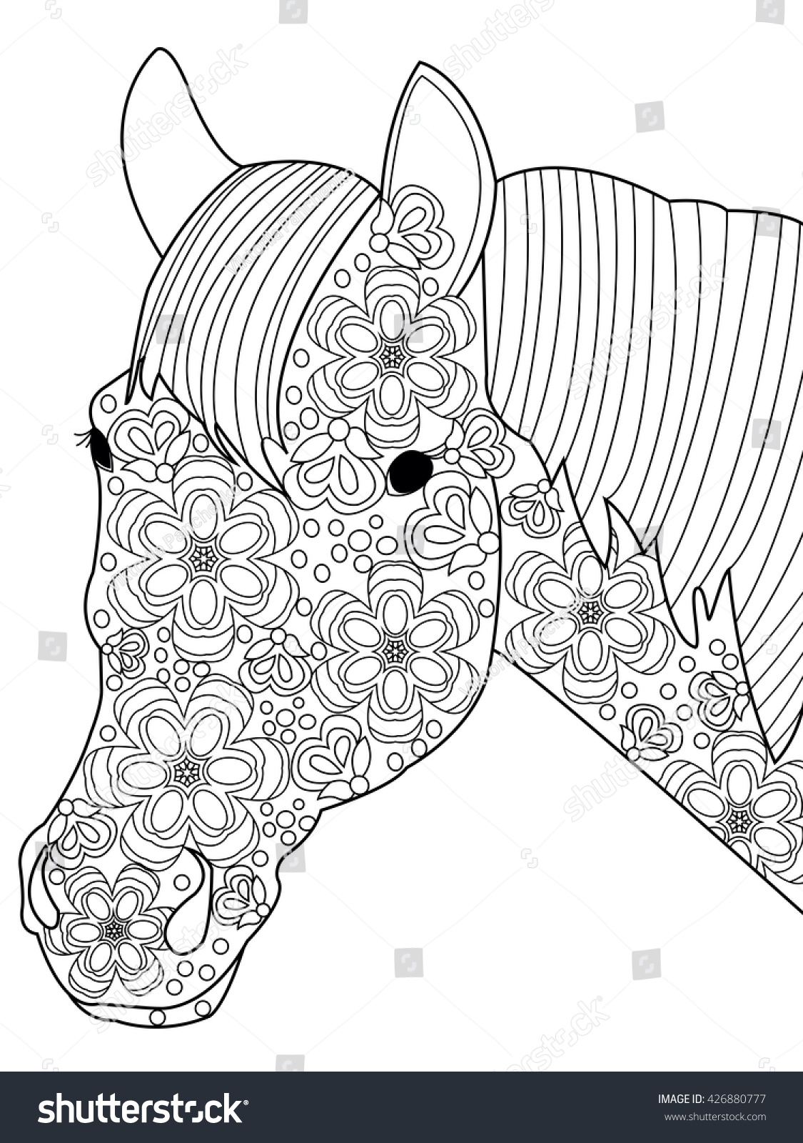 Head Horse Coloring Book For Adults Vector Illustration