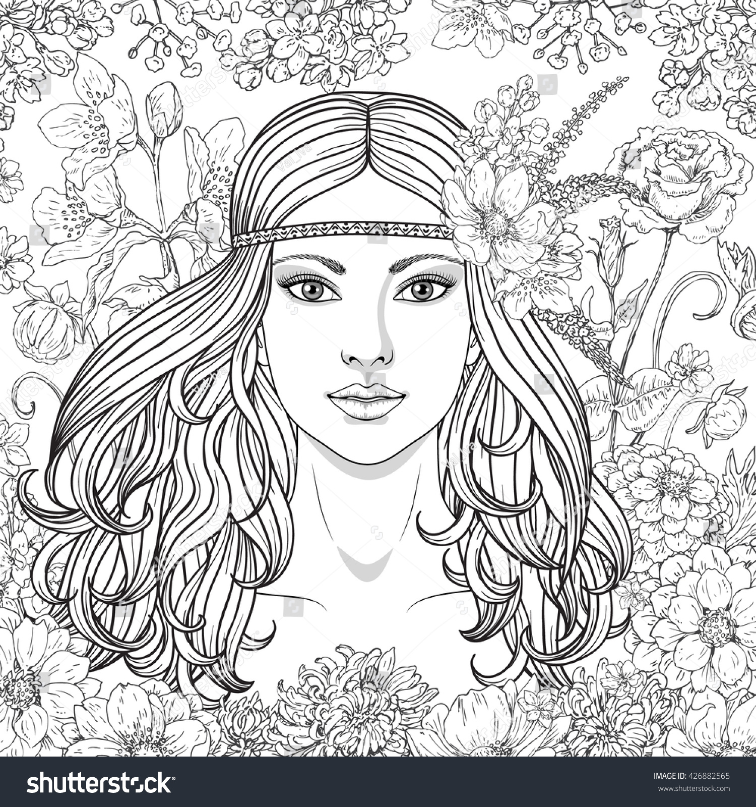 Hand Drawn Girl Flowers Doodle Floral Stock Vector