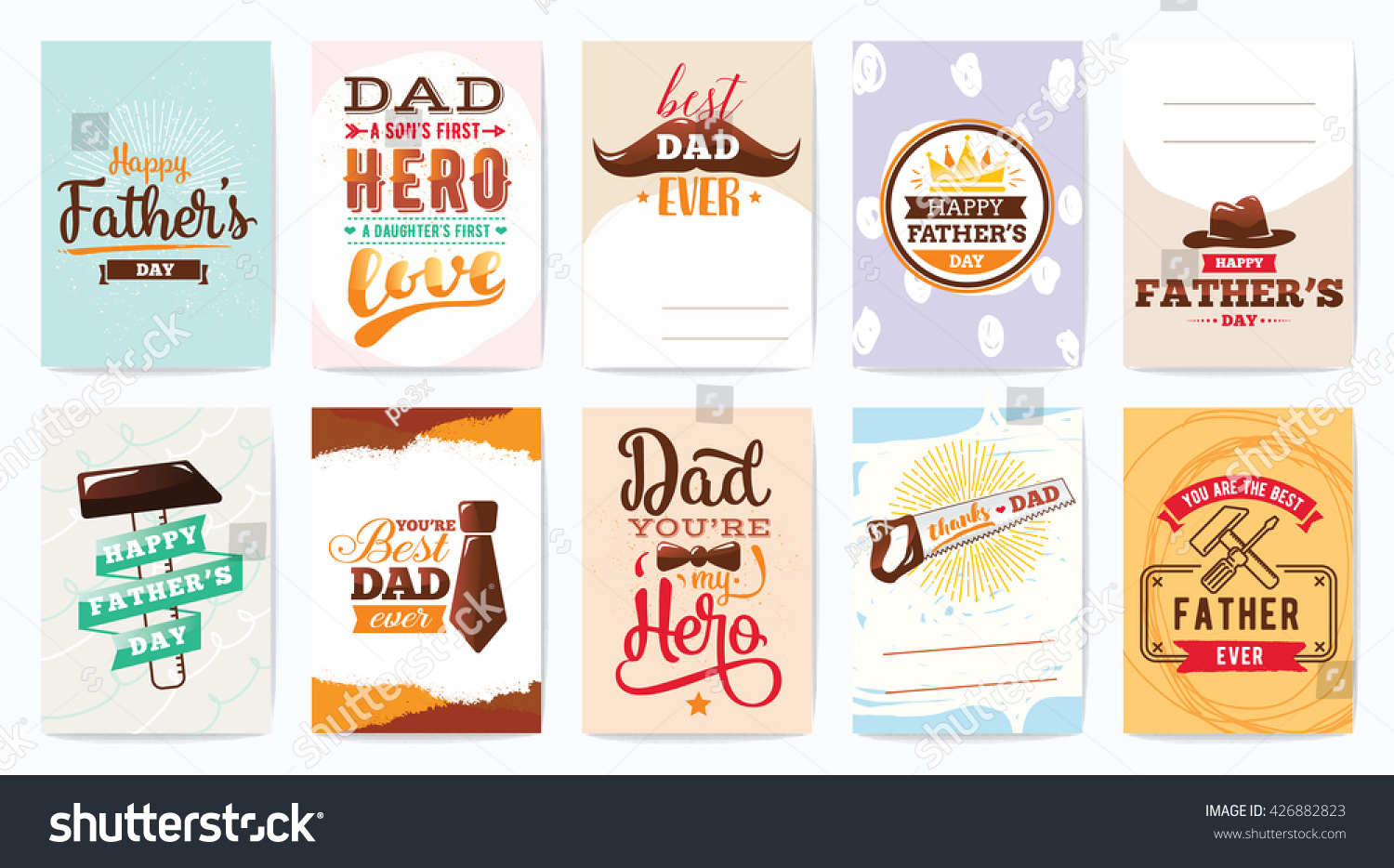 Happy Fathers Day Greeting Cards Set Stock Vector Royalty Free