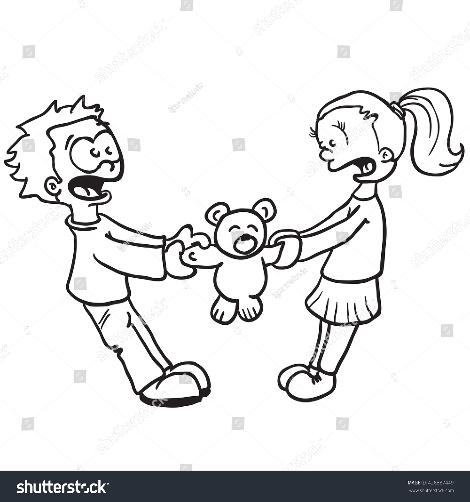 Black and white boy and girl fighting cartoon