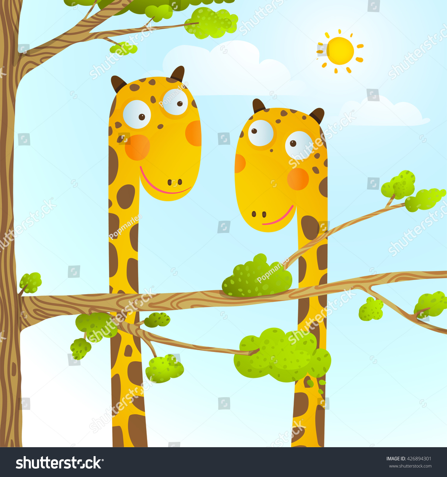 fun cartoon baby giraffe animals wild stock vector 426894301