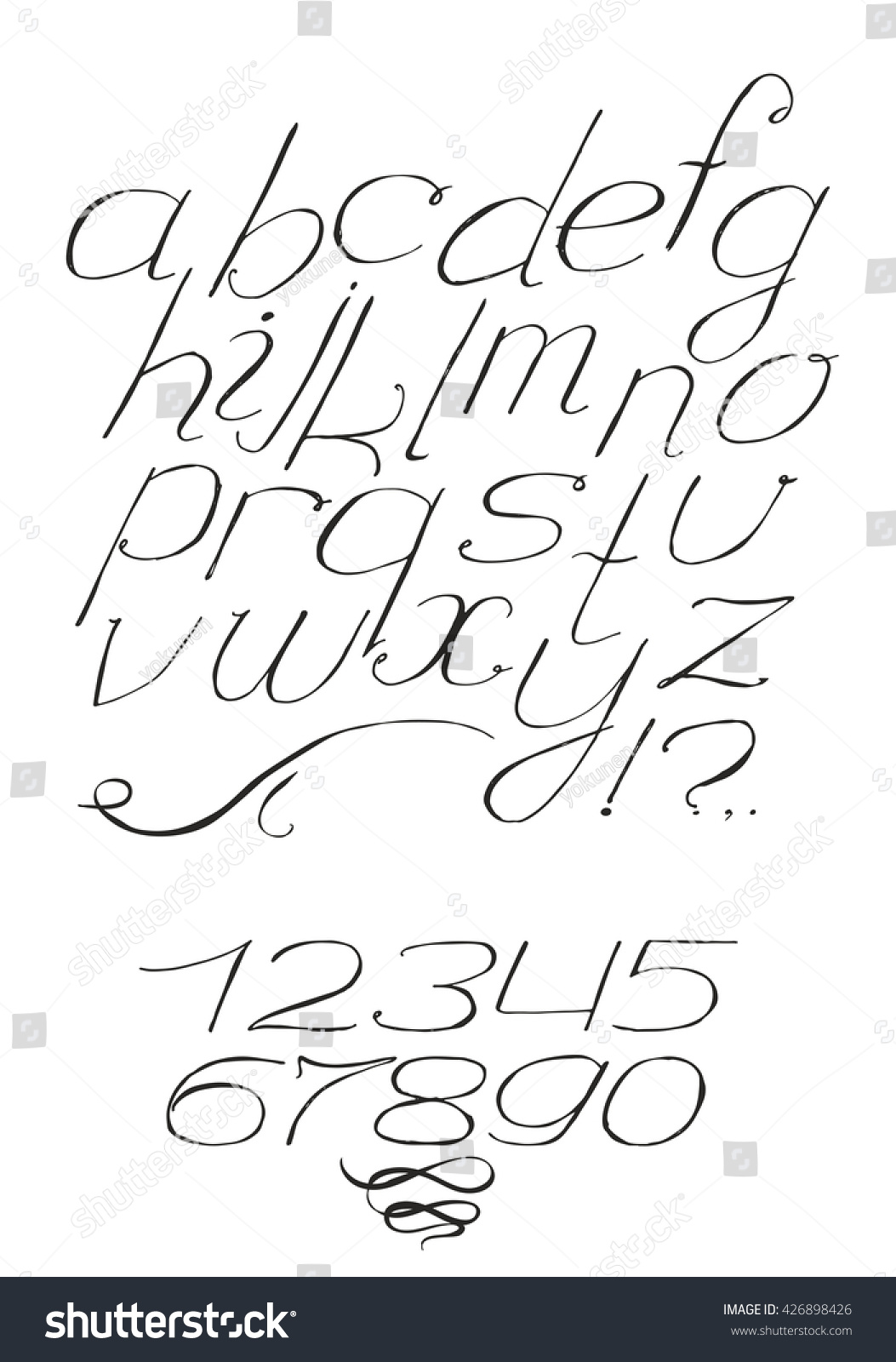 script font cursive black on white stock vector 426898426