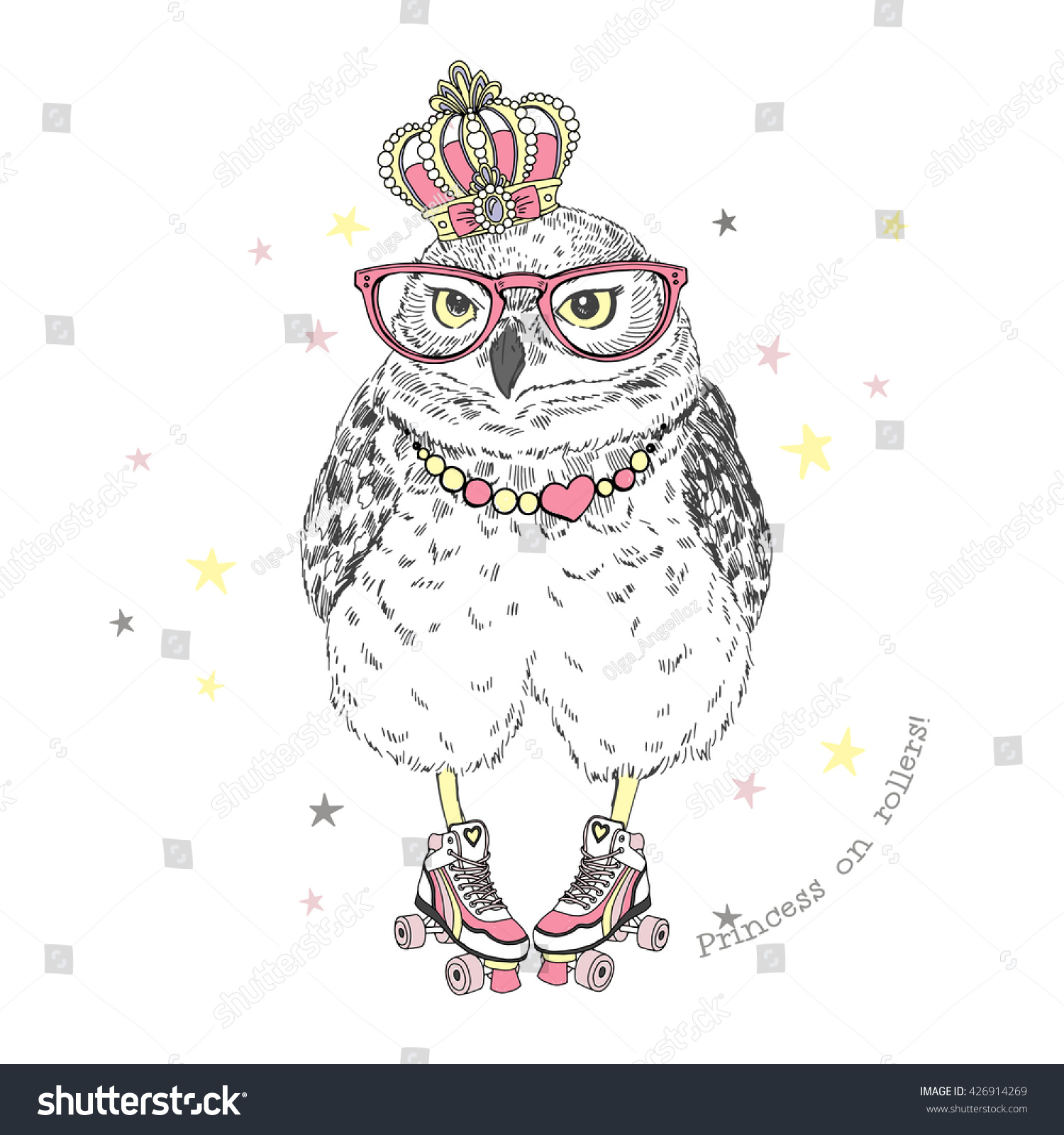 Roller skates book - Cute Owl Princess On Roller Skates Hand Drawn Graphic Animal Illustration