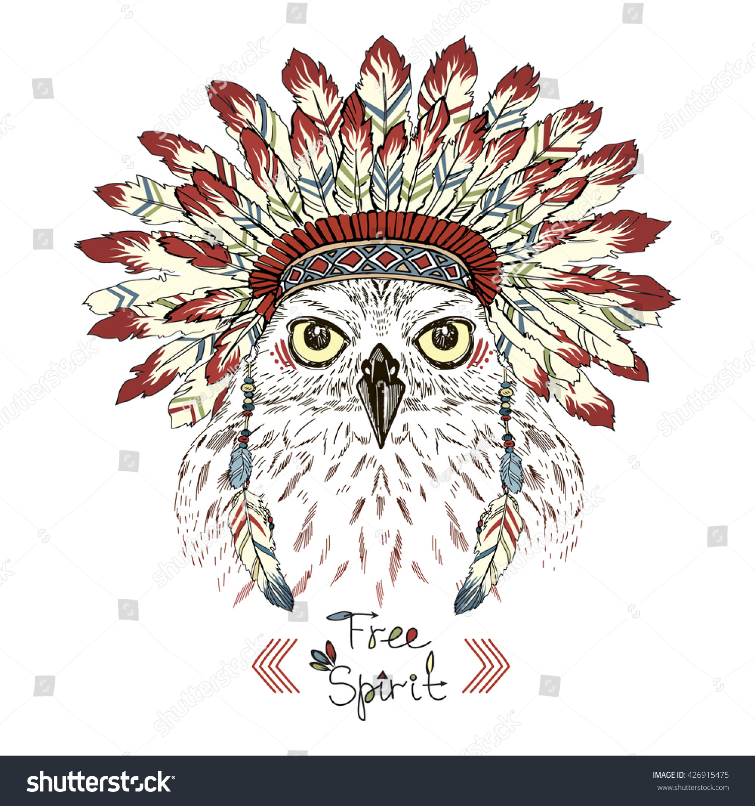 portrait owl war bonnet animal illustration stock vector 426915475