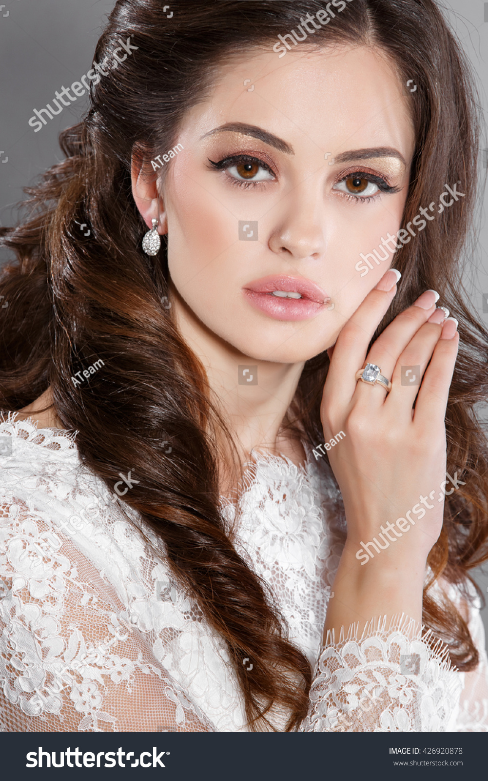 Beautiful Bride Wedding Makeup Hairstyle Vogue Stock Photo Edit Now