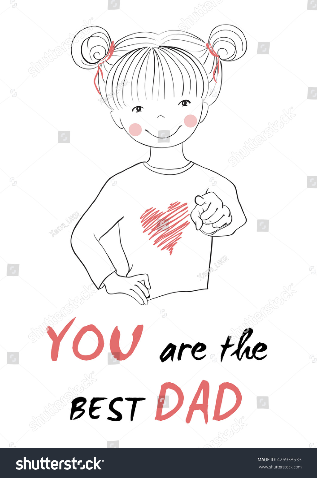 Funny Fathers Day Card Cute Cartoon Stock Vector Royalty Free