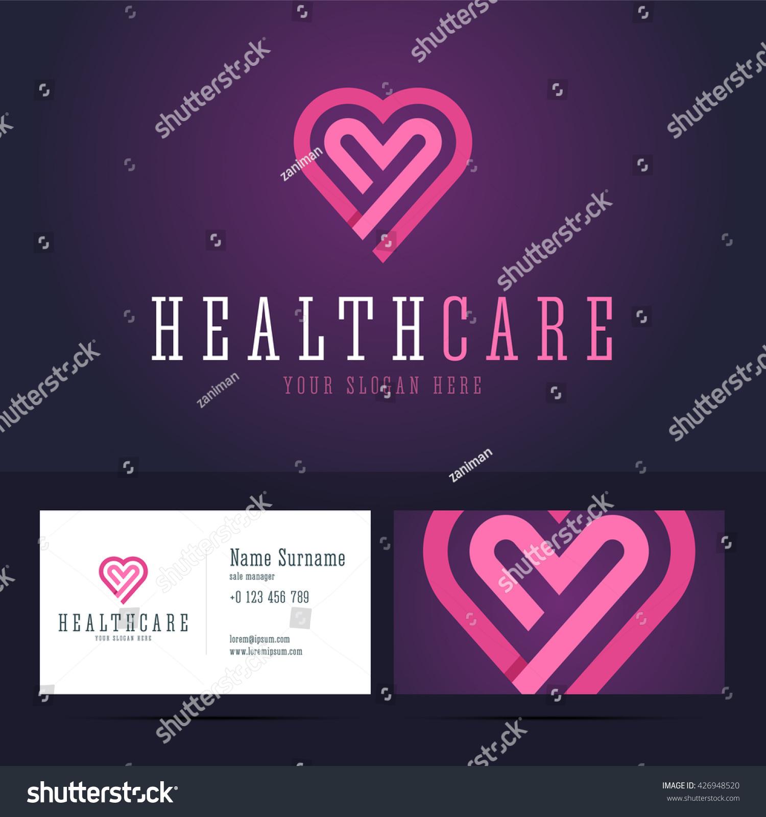 health care logo business card template stock vector