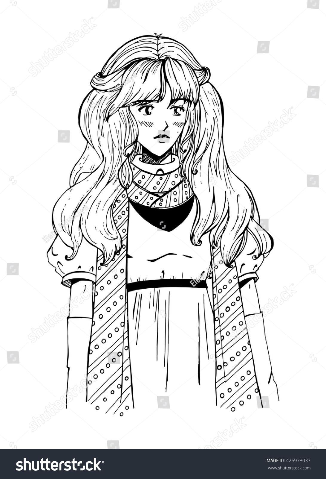 Vector illustration of beautiful manga girl with dreamy sad face long hair perfect