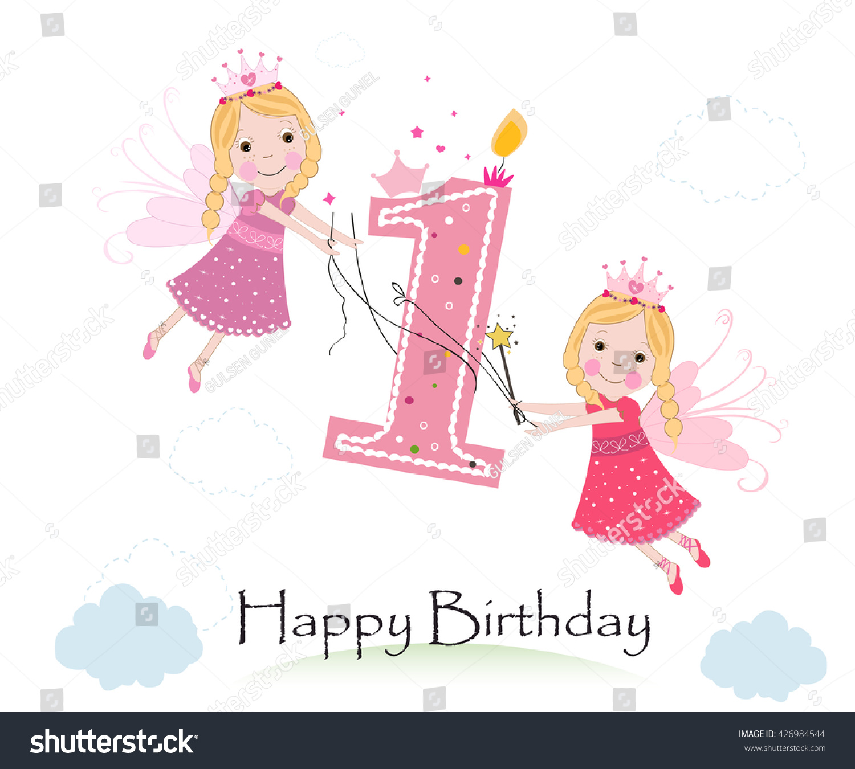 Happy First Birthday Cute Fairy Tale Stock Vector