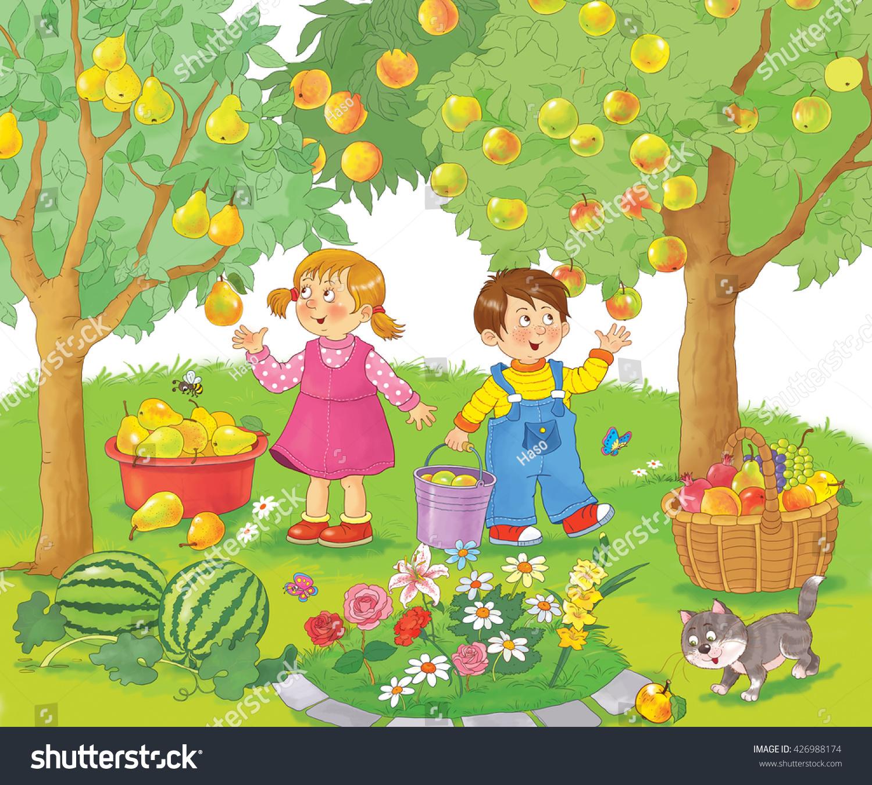 Garden Cute Cartoon: Garden Fruits Cute Girl Boy Picking Stock Illustration