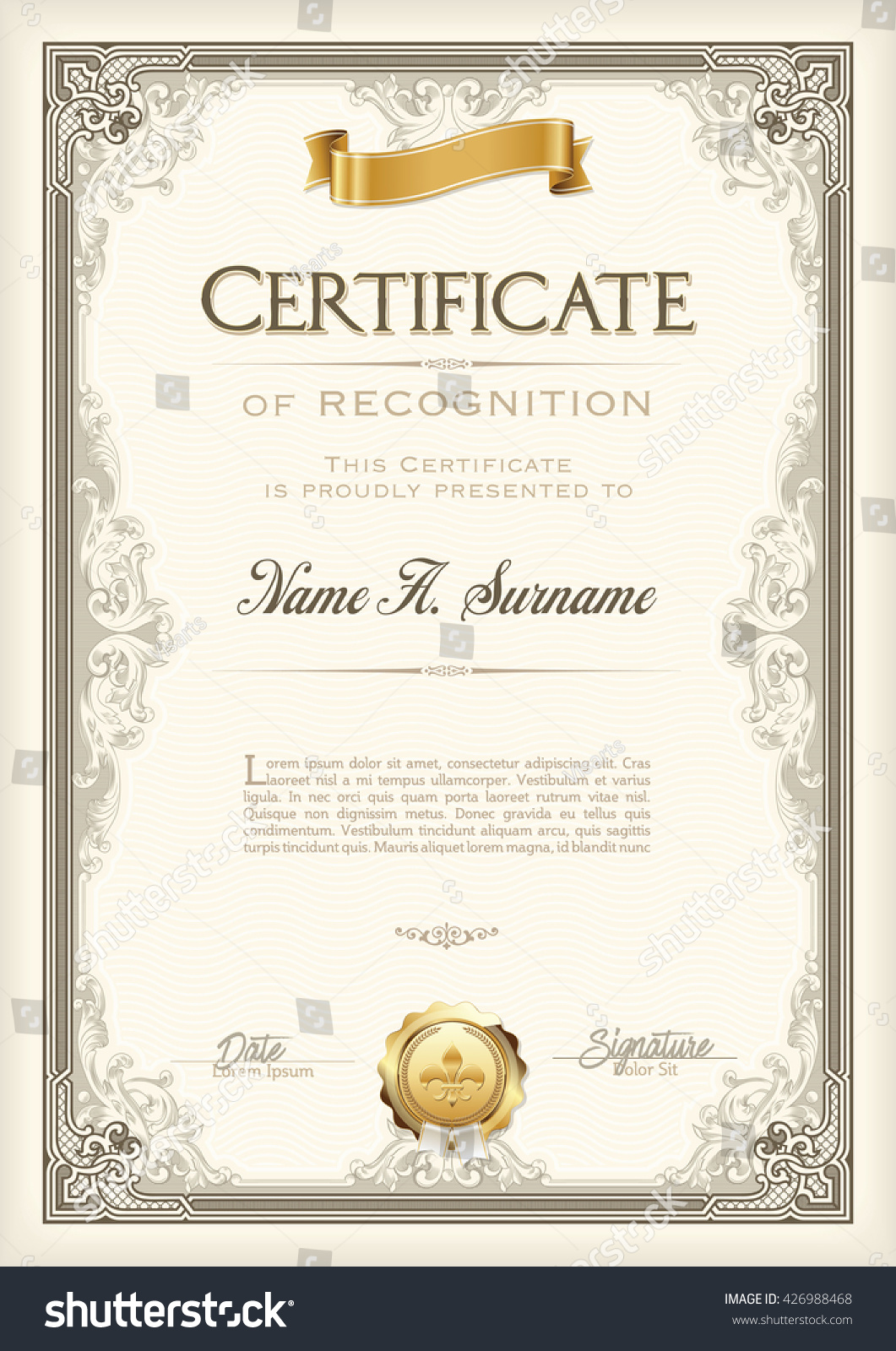 Certificate Recognition Vintage Frame Gold Ribbon Stock ...