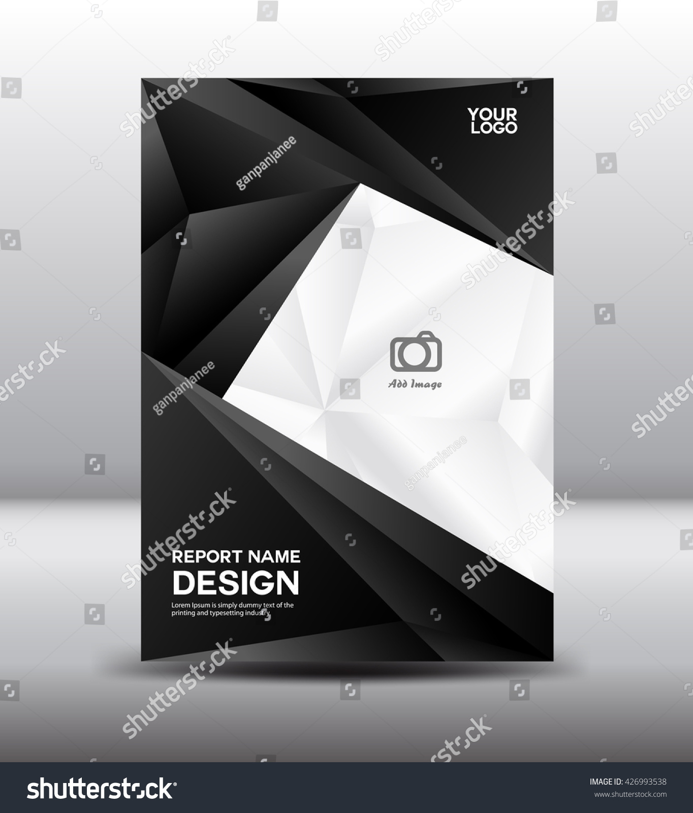 Black White Cover Design Annual Report Stock Vector Royalty Free
