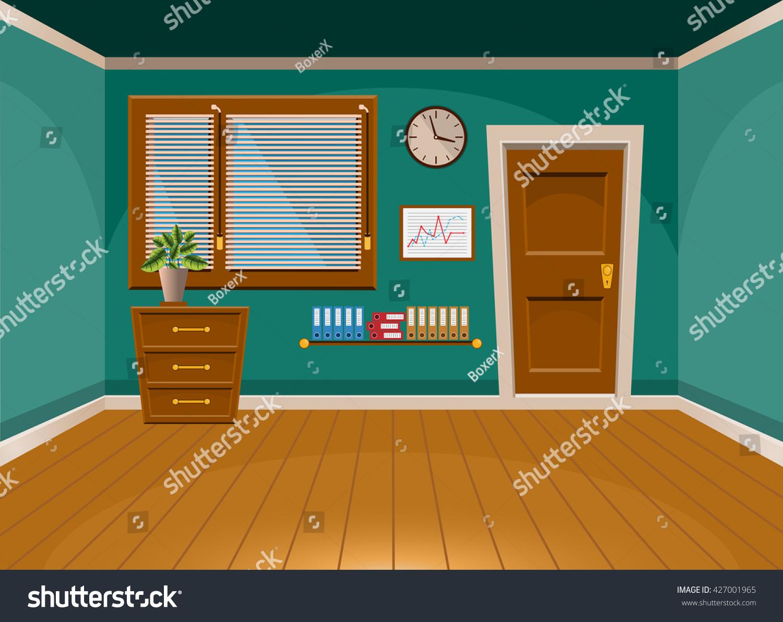 Cartoon Flat Vector Interior Office Room Stock Vector