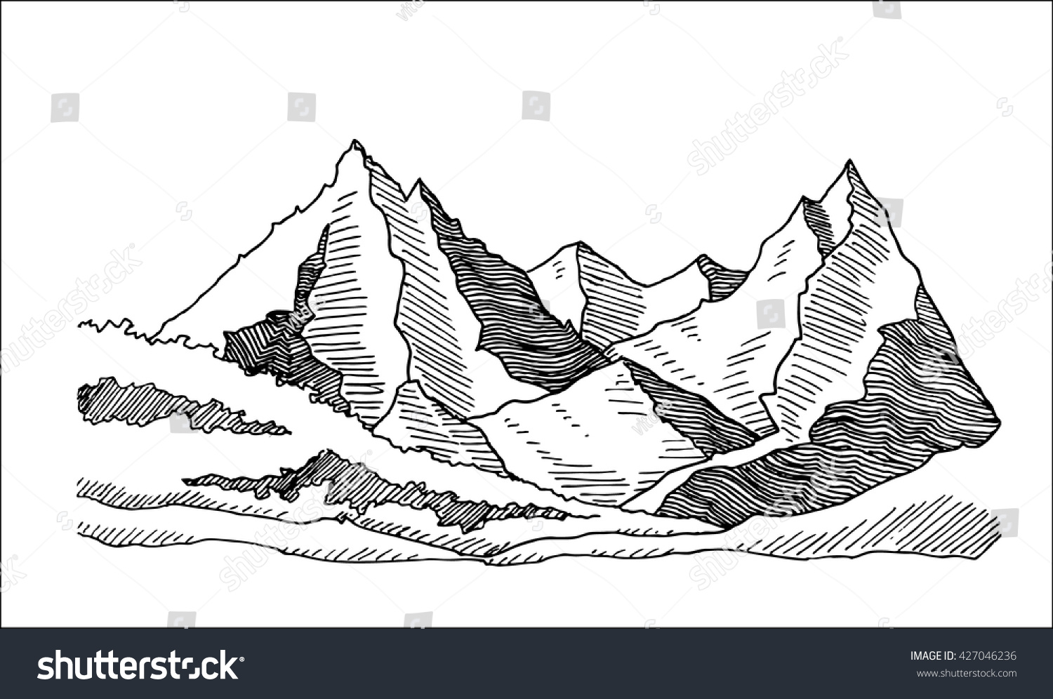 Mountains Valley Landscape Hand Drawn Sketch Stock Vector (Royalty on
