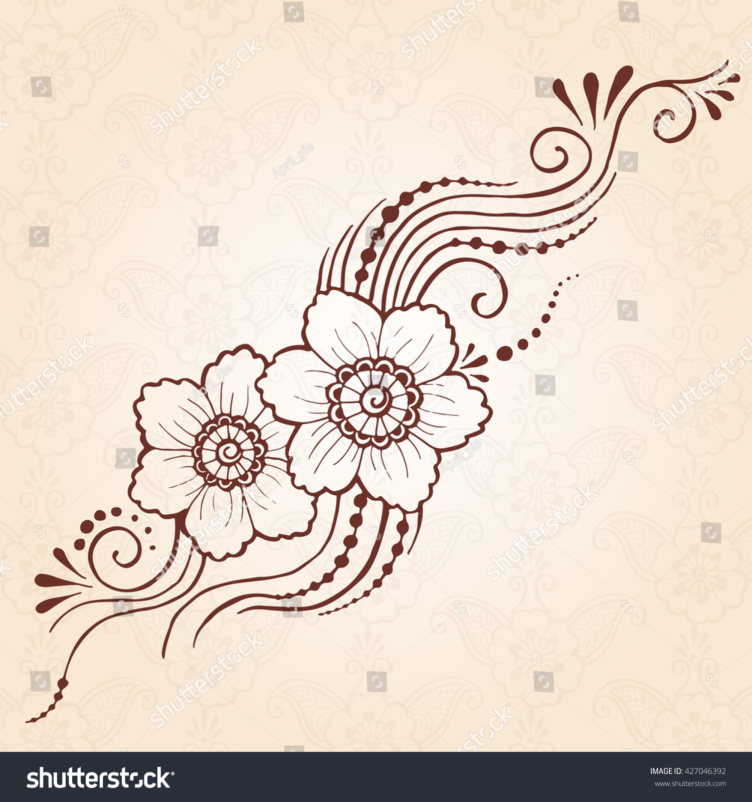 hand drawn henna design paisley flower stock vector 427046392