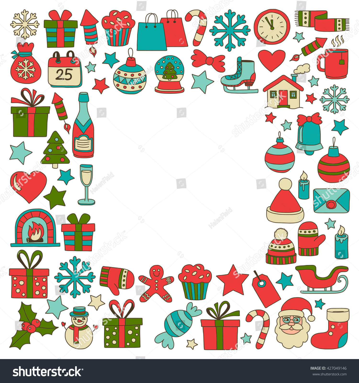 Doodle Vector Icons Merry Christmas And Happy New Year - 427049146 : Shutterstock